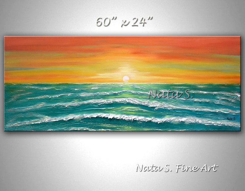Original Ocean Waves Painting Large Seascape Art Abstract image 0