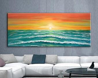 Original Ocean Waves Painting Large Seascape Art Abstract Heave Textured Sea Painting Sunrise Ocean Art Modern Ocean Wall Décor - Nata
