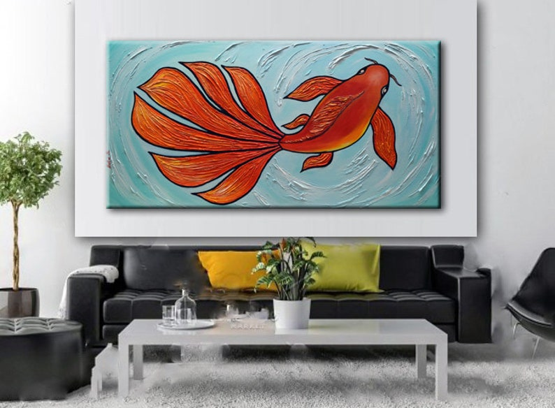 fd5f5dc9bfad KOI Fish Painting, Giclee PRINT, Large Abstract Art, Koi Fish Large Art  Print, Modern Fish Painting, Contemporary Art, Wall Hanging by Nata