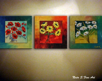 Triptych Flower Painting, ORIGINAL Painting,Abstract Floral Art, Modern Poppy, Daisy Painting, Sunflower Art, Colorful Wall Art by Nata S.