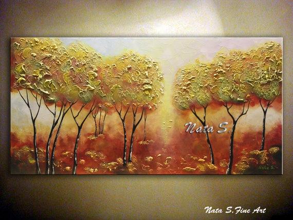 Grande paesaggio arte astratto albero originale pittura arte etsy