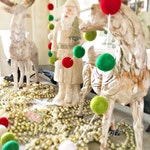 Christmas Felt Ball Garland - Red - Green - White - Decoration - Wool Felt Ball String - Holiday Garland - Wedding Decor Bunting 6 Ft.