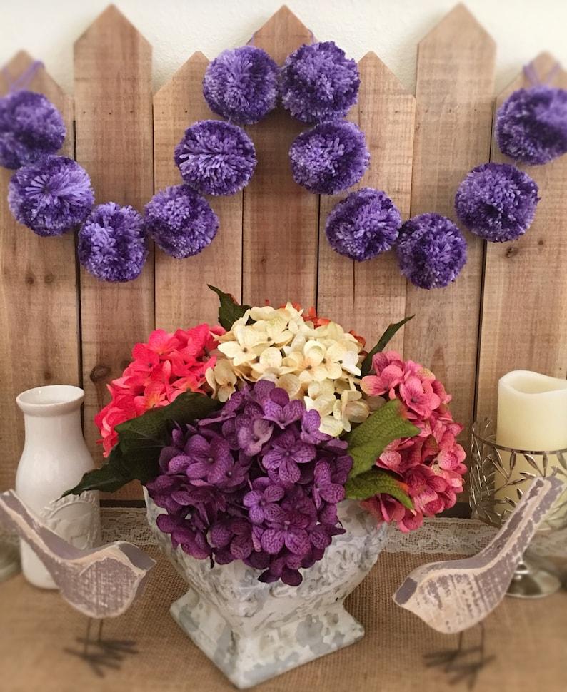 Pom Pom Yarn Garland Birthday Garland Purple Ombr\u00e9 Pom Poms Decoration 6 Ft Bridal Shower Garland Nursery Baby Home Decor Farmhouse
