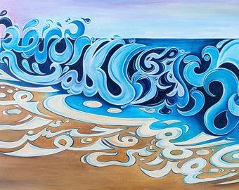 Modern Islamic Art, Arabic Calligraphy, Canvas, Islamic Wall Art, Beach, Waves, Kahf