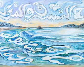 Modern Islamic Art, Arabic Calligraphy, Canvas, Islamic Wall Art, Beach, Waves