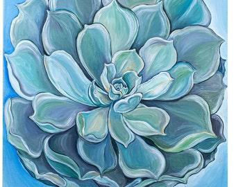 Succulent Wall Art, Cactus Painting, Acrylic on Canvas, Home Decor, Botanical Wall Art