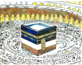 Modern Islamic Art | Islamic Art Print |Wall Decor |Arabic Calligraphy | Watercolor Calligraphy | Kaaba | Mecca