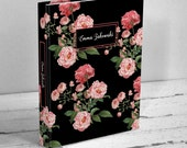 Pink Roses Personalized Floral Writing Journal - Black or White - Blank Book, Hardcover Notebook - Gift for Women