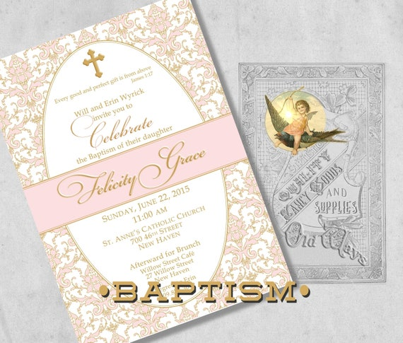 formal baptism invitations for a baby girl pink gold etsy