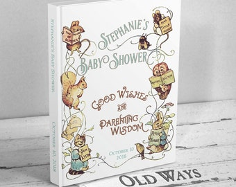 Storybook Baby Shower Guest Book - Personalized Vintage Beatrix Potter Guestbook - Wishes for Baby, Advice for Parents - Bring a Book Shower