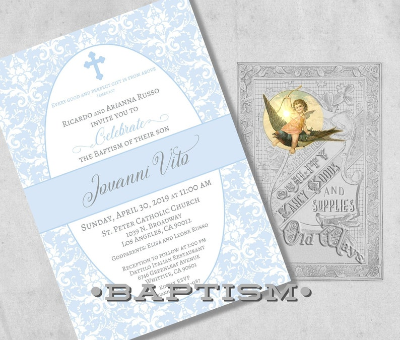 Elegant Christening or Dedication Invitation Printed Baby Boy Baptism Invitations in Blue and White Damask Custom Invites with Envelopes