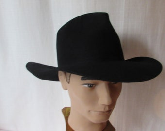 ba27fa39ea655 Black Cowboy Hat Bailys size small Western made in USA Drafter tall crown