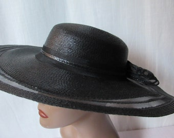 539b70fde5e Large Brim Black Hat bow made in Italy for Neiman Marcus High Fashion  Church Sun hat
