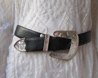 Belt/Black Leather Silver detail Montana Silversmiths/A Beres USA