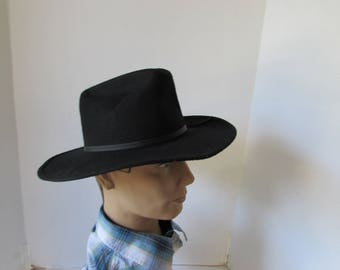 "Small Black Cowboy hat Eddy Bros. Brand ""Ranger"" hat made in USA size 6 1/2"
