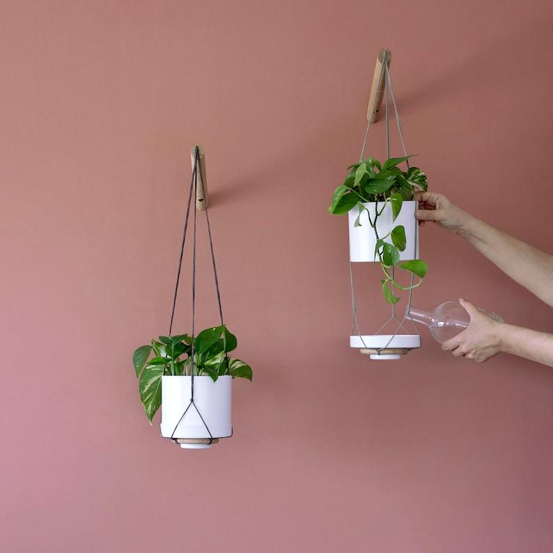 Plant Hanger Wood Hanging Planter Modern Macrame Plant Etsy