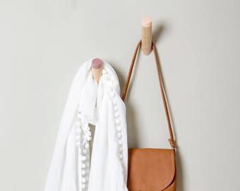Peach Entryway coat hook, modern wall hook, pastel dipped WH-02 X