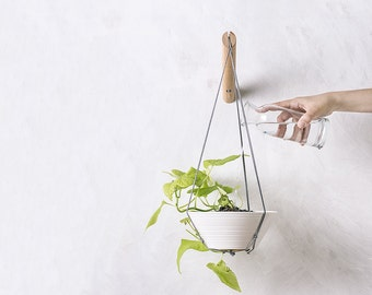 Plant Hanger, Wood Hanging Planter, Modern Macrame, Plant Holder, Macrame Plant Holder,  Minimalist Planter, Boho Home, Indoor Planter,