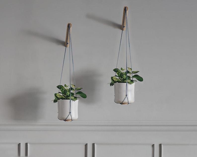 Hanging Planters Two Bohemian Modern Macrame Plant Hanger image 0