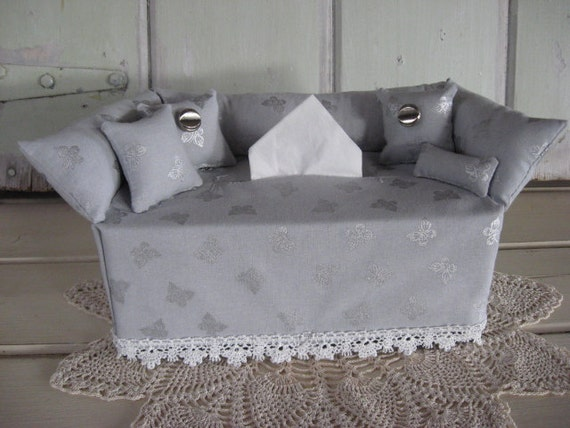 Strange Couch Tissue Box Cover Mini Couch Pearl Gray Silver Metallic Butterflies White Lace Room Accessory Gift Silver Angeled Buttons Home Decor Evergreenethics Interior Chair Design Evergreenethicsorg