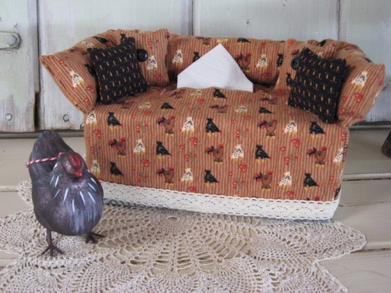 Groovy Couch Tissue Box Cover Mini Couch Brown Black Cream Rooster Chicken Print Black Pillows Lace Home Decor Kleenex Cover Bathroom Bedroom Evergreenethics Interior Chair Design Evergreenethicsorg