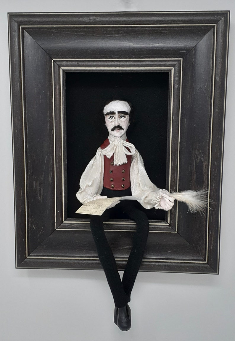 Edgar Allan Poesculpted figure/doll in shadowbox image 0