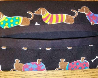 Black Dog/Dachshund in Sweaters Print Travel Tissue Pouch/Holder