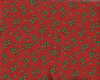 Red w/ Holly Leaves Holiday/Christmas Cotton Fat Quarter Fabric