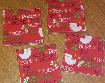 Set of 4 Reversible Christmas/Holiday Fabric Coasters - Santa, Candy Cane, Snowflakes