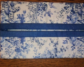 Blue and Ivory Toile Print Travel Tissue Pouch/Holder