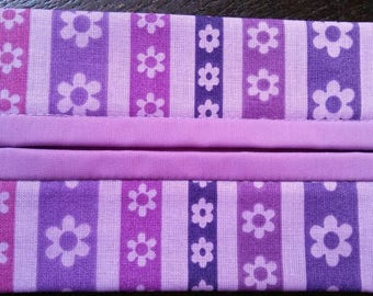 Purple Striped Floral Fabric Travel Tissue Pouch/Holder
