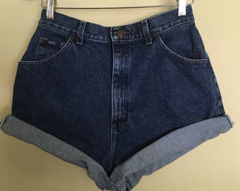 High Waisted Shorts, Lee vintage jeans, dark wash, Cuffed, high wasted waist, Lee vintage denim, 90s 1990s mom shorts, Womens size 14