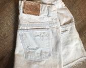 Vintage high waisted Shorts, sonoma jean co, distressed mom cut-offs, light wash, LA style boho, size 10, destroyed denim, 80s 90s festival