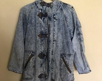 1f3d46e27 Stonewashed Denim Coat, retro Vintage Jacket, Oversized hooded, 80s 90s  grunge, Hipster flannel lined, Womens Size L, unisex, lifestyles