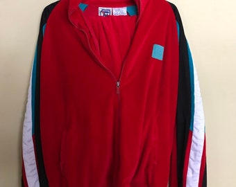 5be6693925dc1 80s tracksuit, vintage red velvet, cotton sweatsuit, fresh prince style,  spring sportswear, retro two piece, size L, exercise clothing, teal