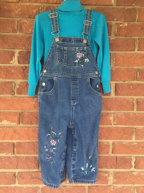 Vintage Overalls & Jumpsuits Vintage Overalls, Babygap Gap Size 3 3T, Toddler Girl Outfit, Turtleneck Denim Jeans, Floral Butterfly, Embroidered Embellished Bibs, Mckids $0.00 AT vintagedancer.com