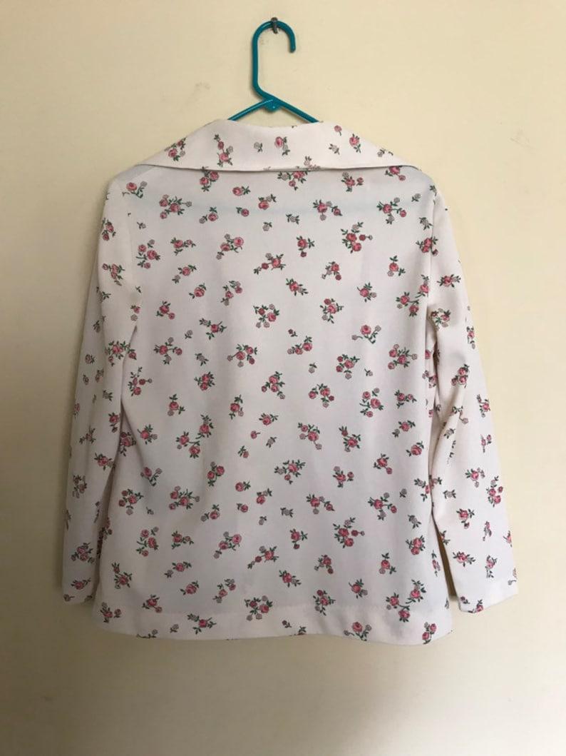 100 polyester double knit 2 piece set 70s handmade matching floral suit Vintage floral skirt set Aldens fashions chicago suit jacket