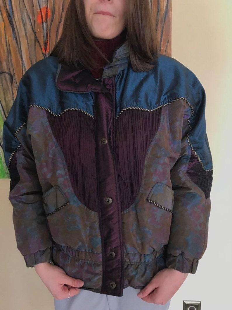 e840ffc4b Vintage Puffy Coat, Bomber jacket, KARIZMA brand, size M, Sparkly  patchwork, retro bomber jacket, 90s retro, unisex jacket, purple paisley