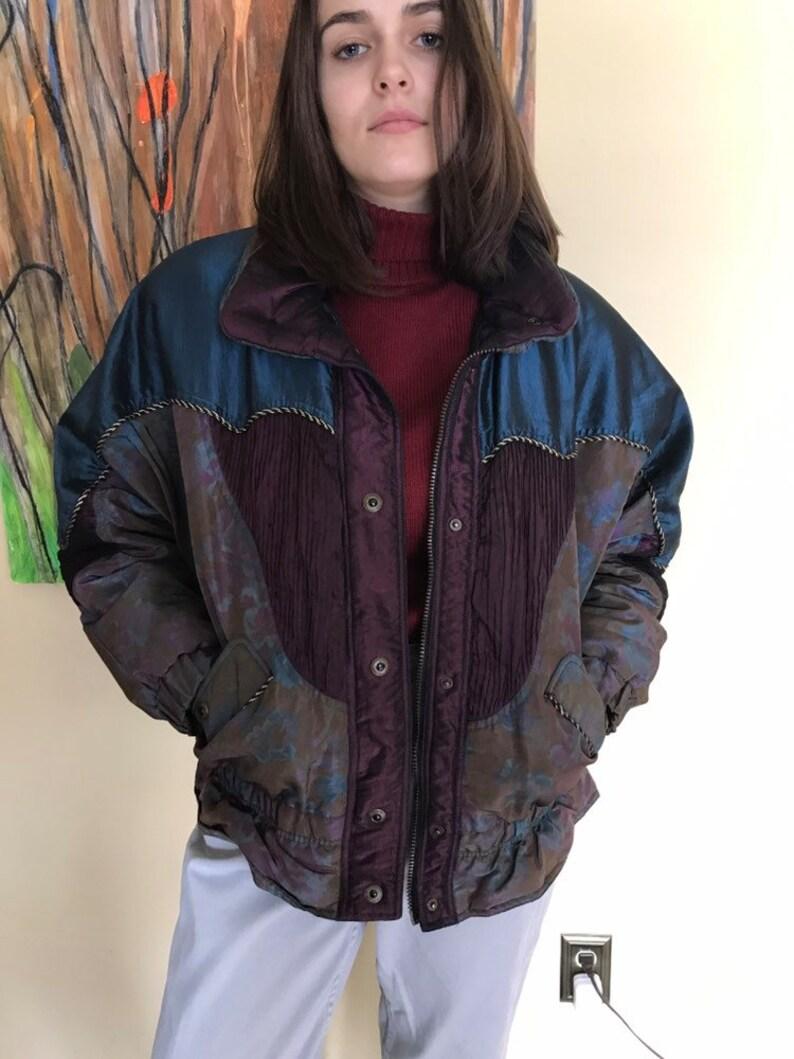 dd7b6f7c4 Vintage Puffy Coat, Bomber jacket, KARIZMA brand, size M, Sparkly  patchwork, retro bomber jacket, 90s retro, unisex jacket, purple paisley