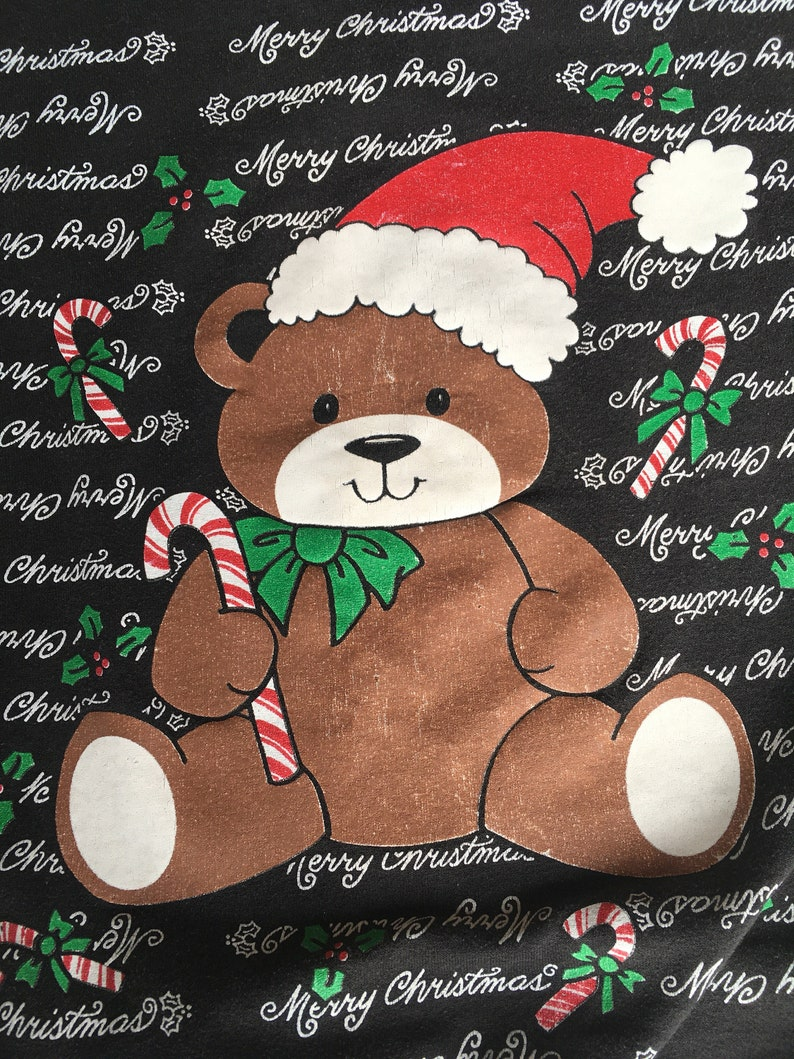USA Made Adult L Large Teddy bear Santa hat Vintage Ugly Christmas Sweatshirt candy cane Holiday Shirt sweater 70s 80s Merry Christmas