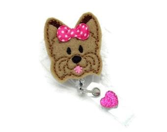 Yorkie Badge Reel - Dog Retractable Badge Reel - Designer ID Wear - Cute Badge Reels - Yorkie Gifts - Gifts Under 10 - Animal Lover ID Wear