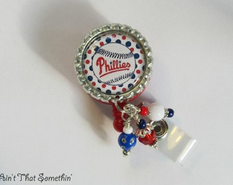 Philadelphia Phillies baseball badge reel and keychain