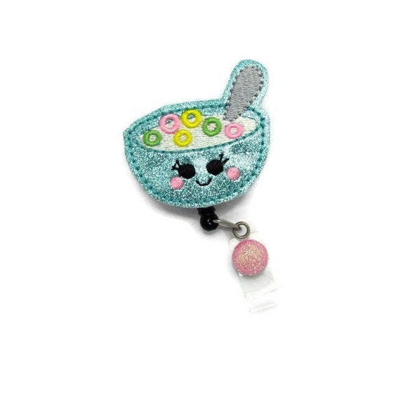 Retractable Badge Reel ID Badge Reel Felt Badge Reel Cereal Bowl Badge Reel Retractable ID Reel Nurse Gift