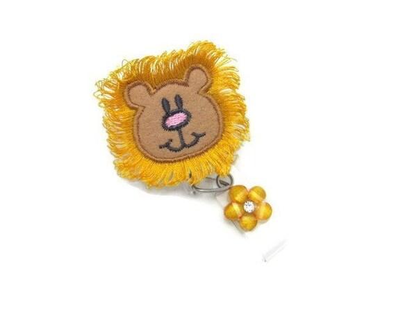 Lion Badge Reel - Felt Applique Badge Reel - Pediatric Badge Reels - Cute  Badge Reel- ID Badge Reel - Designer Badge Reels - Animal Badge ID