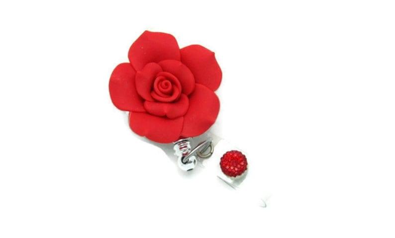 Designer Badge Reels Victorian Rose Badge Reel Professional ID Holders Pretty Badge Pulls Badge Reel Gifts Clay Rose Badge Clip