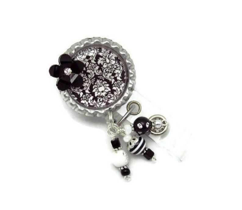 Nurse Badge Reel Cute Badge Reel Lanyard Badge Reel Damask Badge Reel Black Damask Badge Reel ID Badge Reel Badge Reel Jewelry