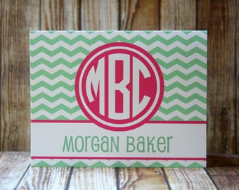 Notecards, Set of 14 Notecards, 38 Colors-Monogrammed Chevron Notecards with Envelopes, Mint and Fuchsia Notecards, Custom Notecards