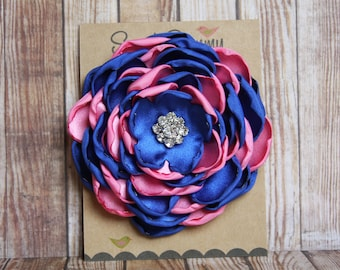 34 Colors Large Satin Flower Pin, Satin Flower Pin with Rhinestones