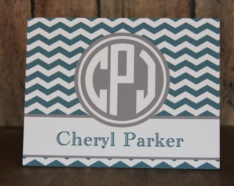 Notecards, Set of 14 Notecards, 38 Colors-Monogrammed Chevron Notecards with Envelopes, Teal and Gray Notecards, Custom Notecards