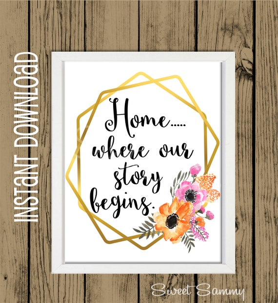 8x10 Printable Wall Art Gold Geometric Frame Home Where Our Story Begins Instant Printable